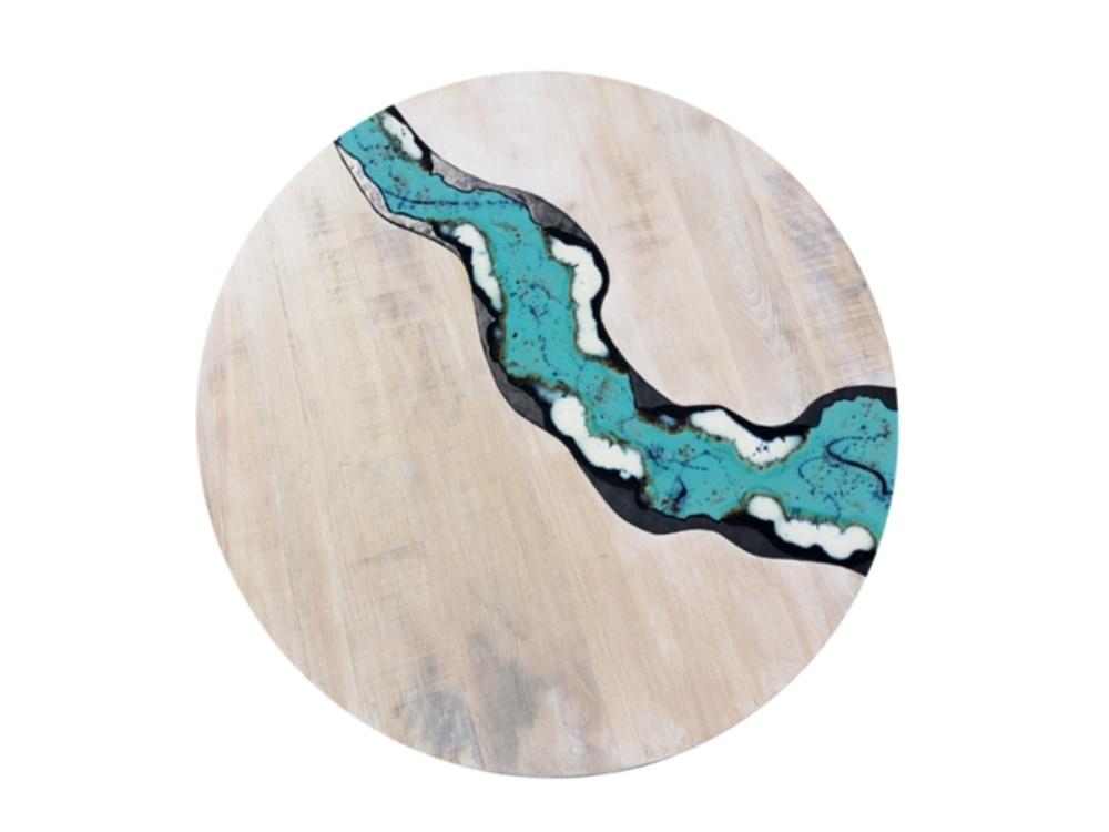 tavolo in legno e pietra lavica