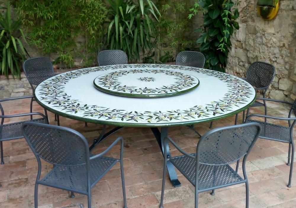 Tavoli Da Giardino In Pietra Lavica.Decoro Olive Tavolo In Pietra Lavica Ceramizzata Grandi