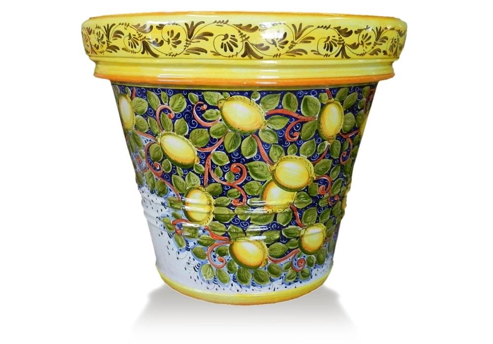 Decoro limoni toscani limoniera in terracotta decorata for Limoni in vaso